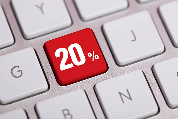 Twenty Percent Off Key On Keyboard stock photo