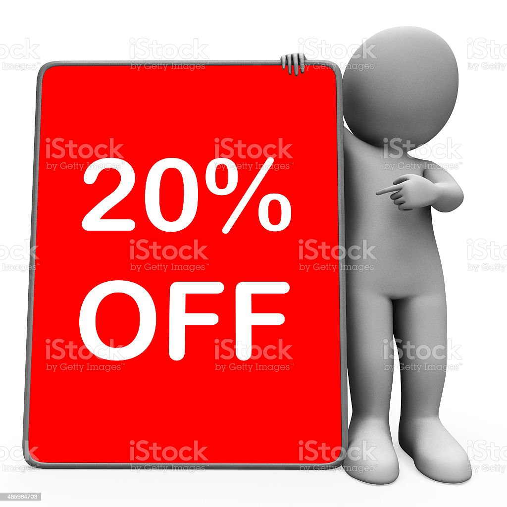 Twenty Percent Off Tablet Character Means 20% Reduction Or Sale stock photo