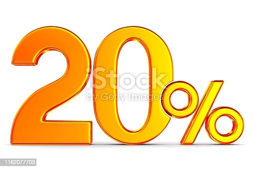 istock Twenty percent on white background. Isolated 3D illustration 1162077703