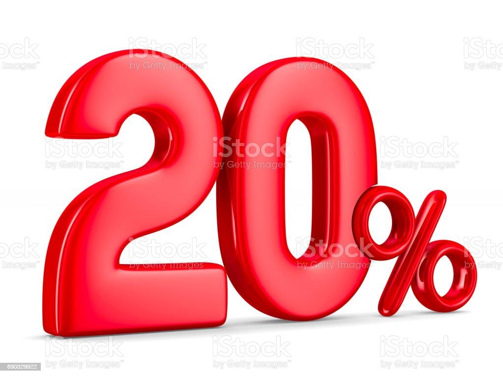 Twenty percent on white background. Isolated 3D illustration stock photo