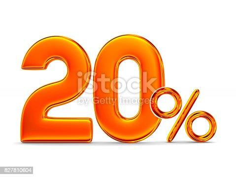 istock Twenty percent on white background. Isolated 3D illustration 827810604