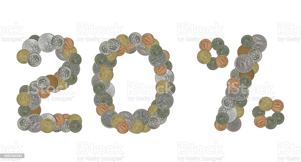twenty percent with old coins stock photo