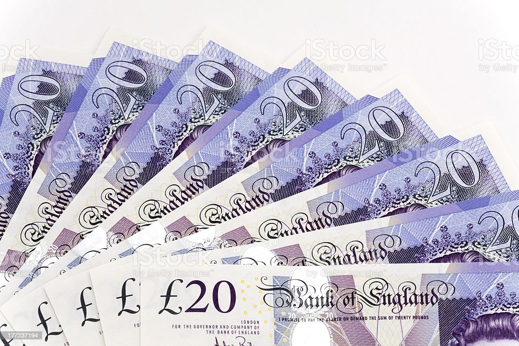 UK twenty pound notes fanned out royalty-free stock photo