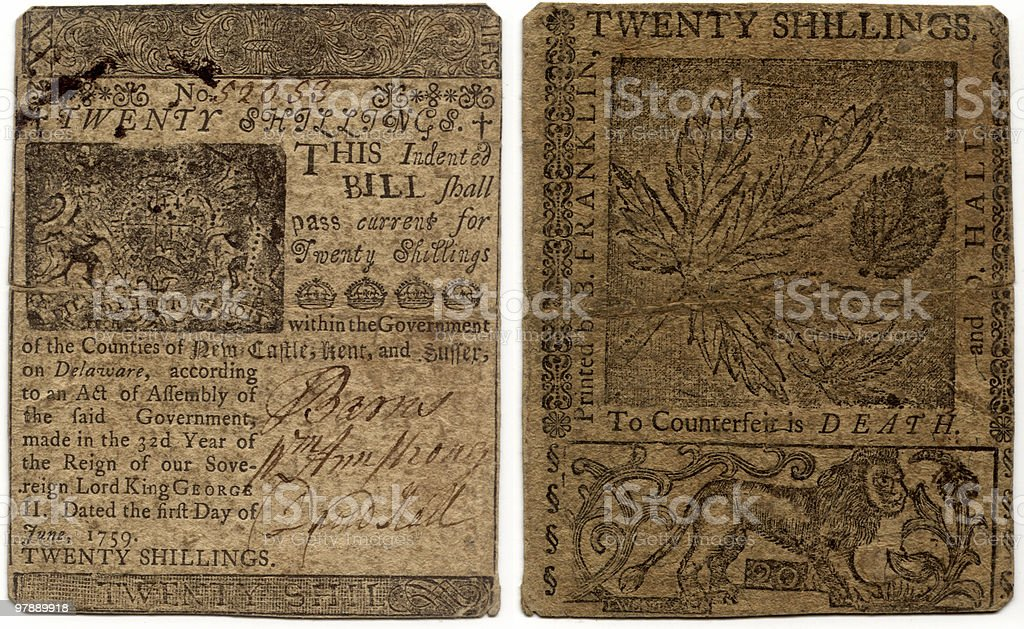 Twenty Shillings, Colonial Delaware, Printed by Ben Franklin royalty-free stock photo