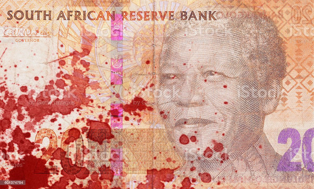 Twenty South African Rand, blood stock photo