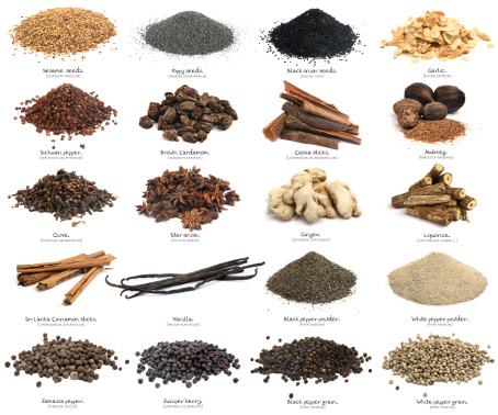 Similar photos on my portfolio. Spices isolated on white with his name in english and its scientific name. This image is one of a serie of three. The spices are: sesame seeds, Poppy seeds, Black onion seeds, Garlic, Sichuan pepper, Brown cardamom, Cassia sticks, Nutmeg, Clove, Star anise, Ginger, Liquorice, Sri Lanka cinnamon sticks, Vanilla, Black pepper powder, White pepper powder, Jamaica pepper, Juniper berry, Black pepper grain, White pepper grain.