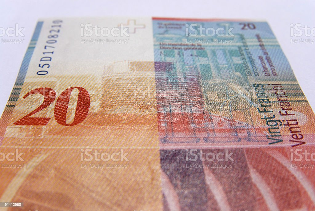 Twenty swiss francs currency royalty-free stock photo
