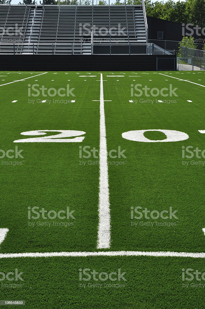 Twenty Yard Line on American Football Field royalty-free stock photo