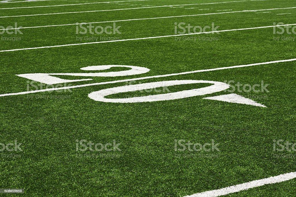 Twenty yard line on an American football field