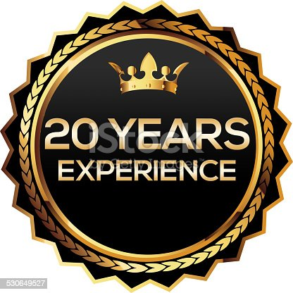 istock Twenty years experience gold badge 530649527