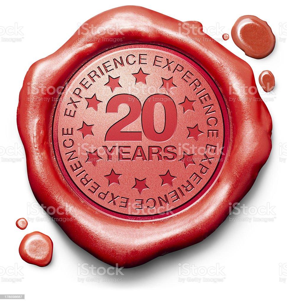 twenty years experience stock photo