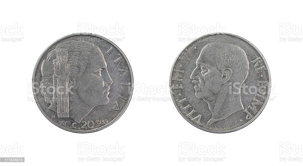 Twenty-Centesimo-Coin, Italy, 1939 royalty-free stock photo
