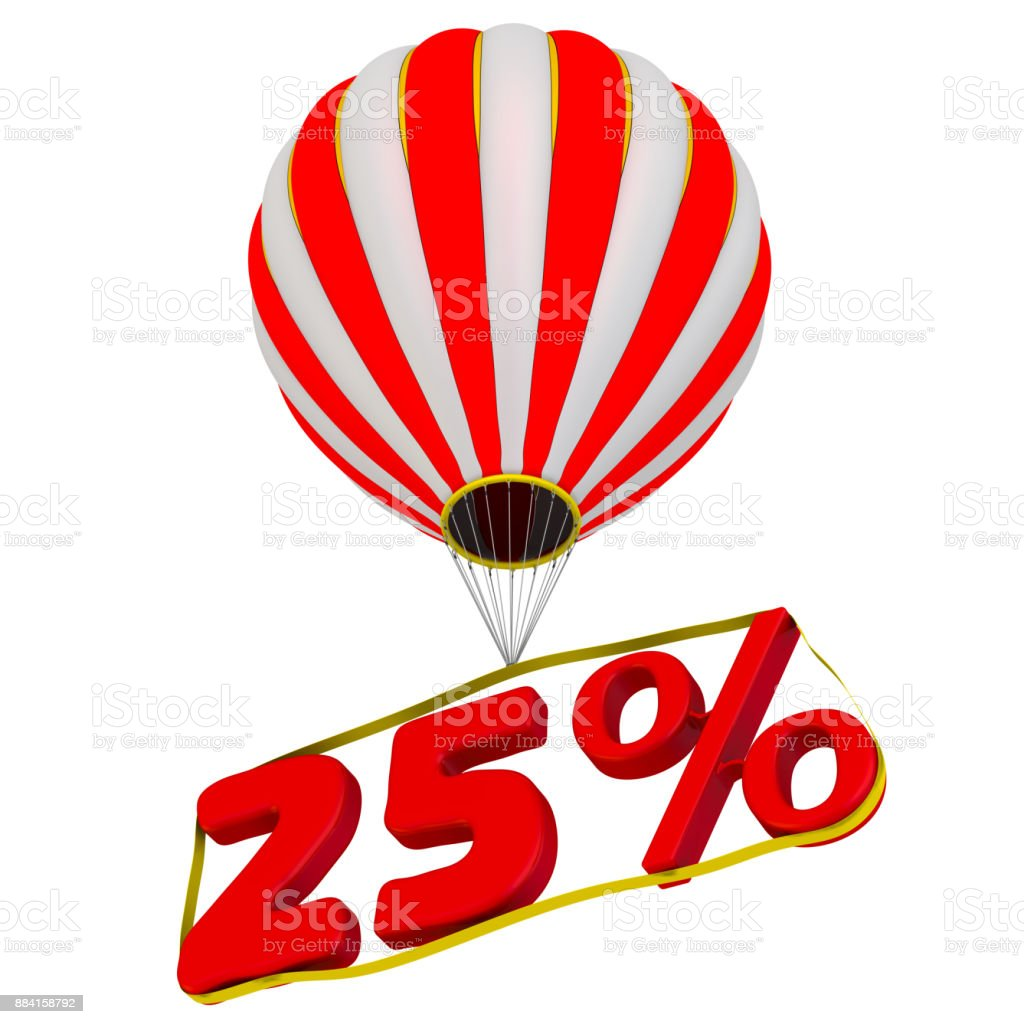 Twenty-five percent flies in a hot air balloon stock photo