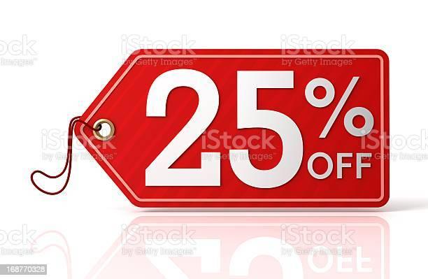 Twentyfive Percent Off Label Stock Photo - Download Image Now