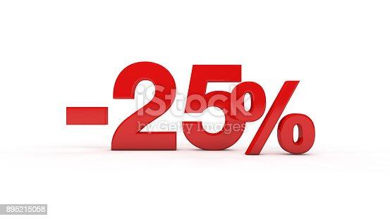istock Twenty-five percent sign 895215058