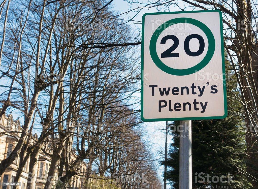 Twenty's Plenty 20 Mph speed limit sign stock photo
