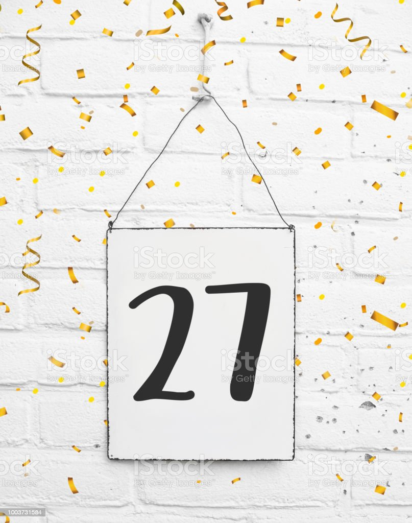 Zevenentwintig 27 Jaar Oud Verjaardag Gefeliciteerd Tekst Met Gouden