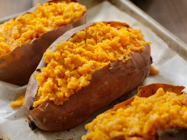 Twice Baked, Stuffed Sweet Potatoes Twice Baked, Stuffed Sweet Potatoes sweet potato stock pictures, royalty-free photos & images