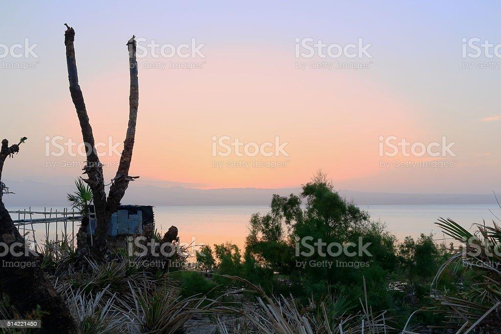 Twilight at dawn over Lake Afrera-Ethiopia. 0141 stock photo