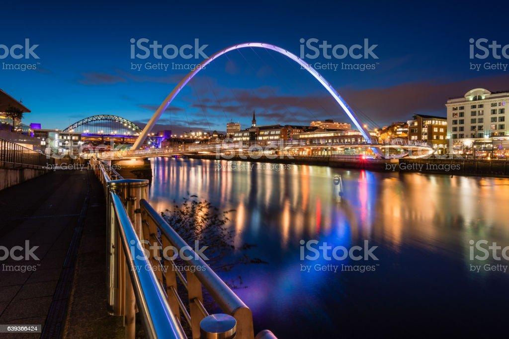 Twilight at Gateshead Millennium Bridge stock photo