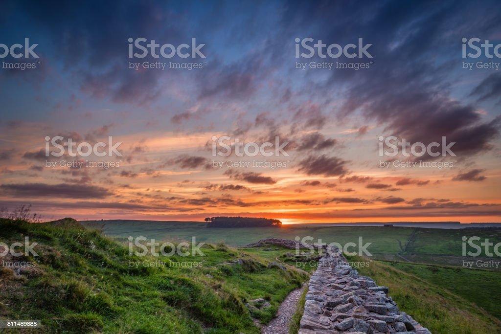 Twilight at Hadrian's Wall stock photo