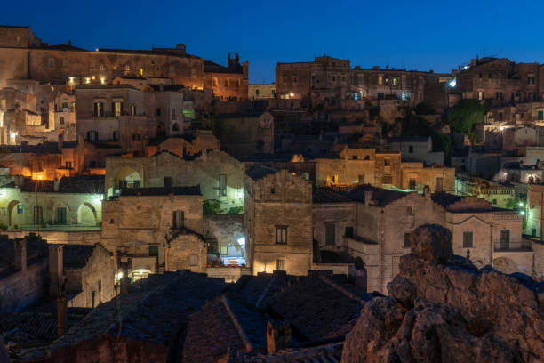 Twilight at Sassi di Matera stock photo