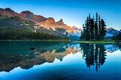The world-famous Spirit Island and Maligne Lake at dusk. Jasper National Park, Alberta, Canada.