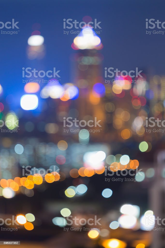 Twilight, blurred boken lights office tower royalty-free stock photo