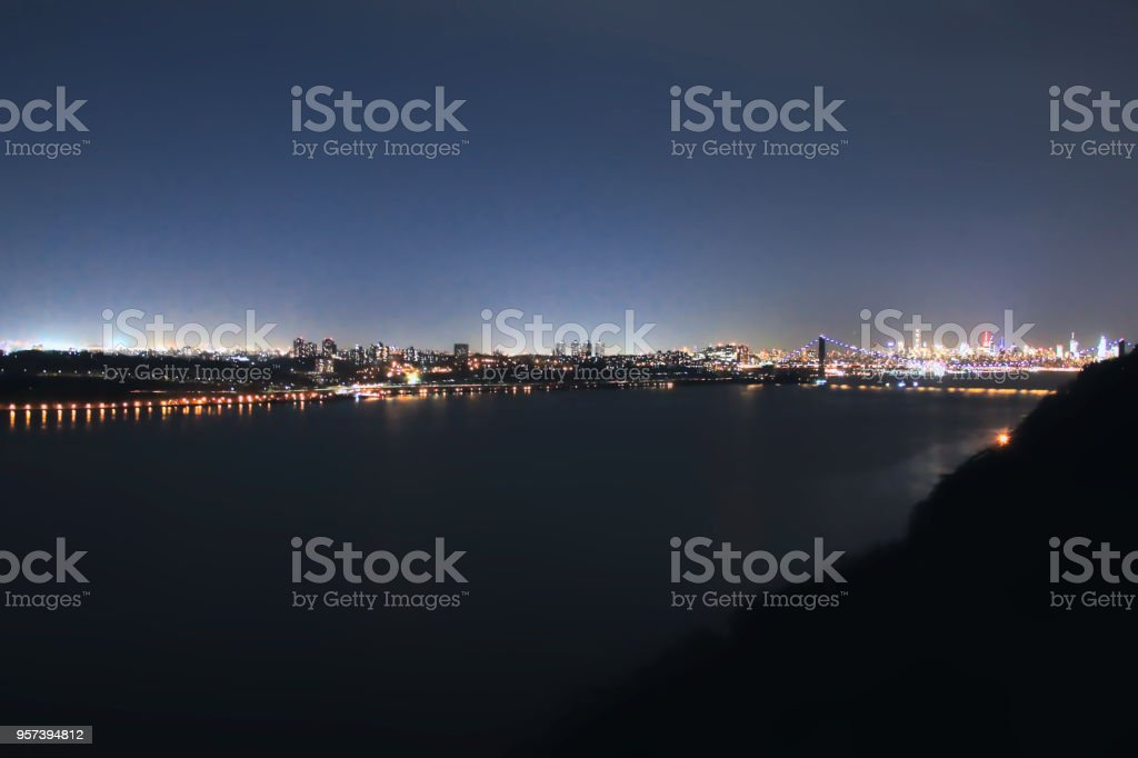 Twilight by the George Washington Bridge stock photo