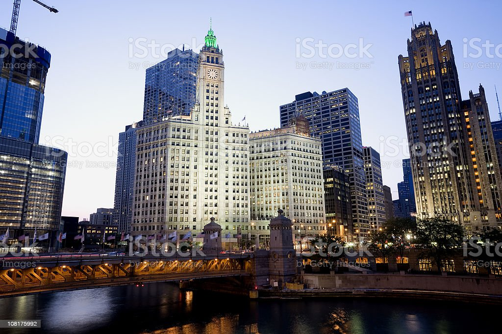 Twilight Chicago Cityscape stock photo