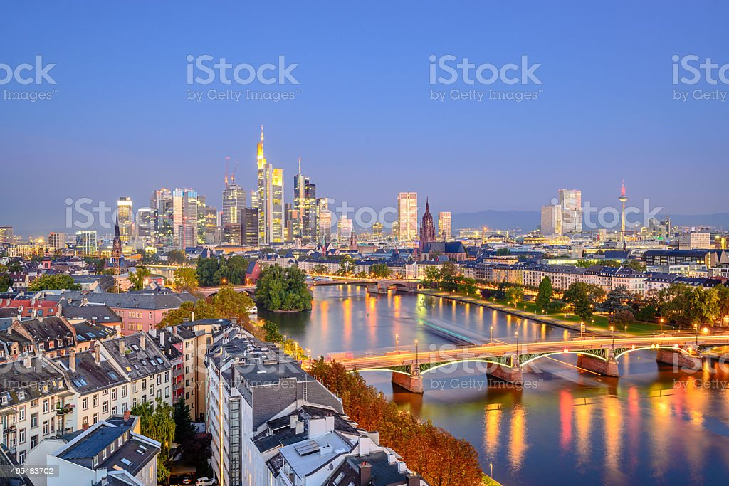 Twilight city skyline of Frankfurt, Germany  stock photo