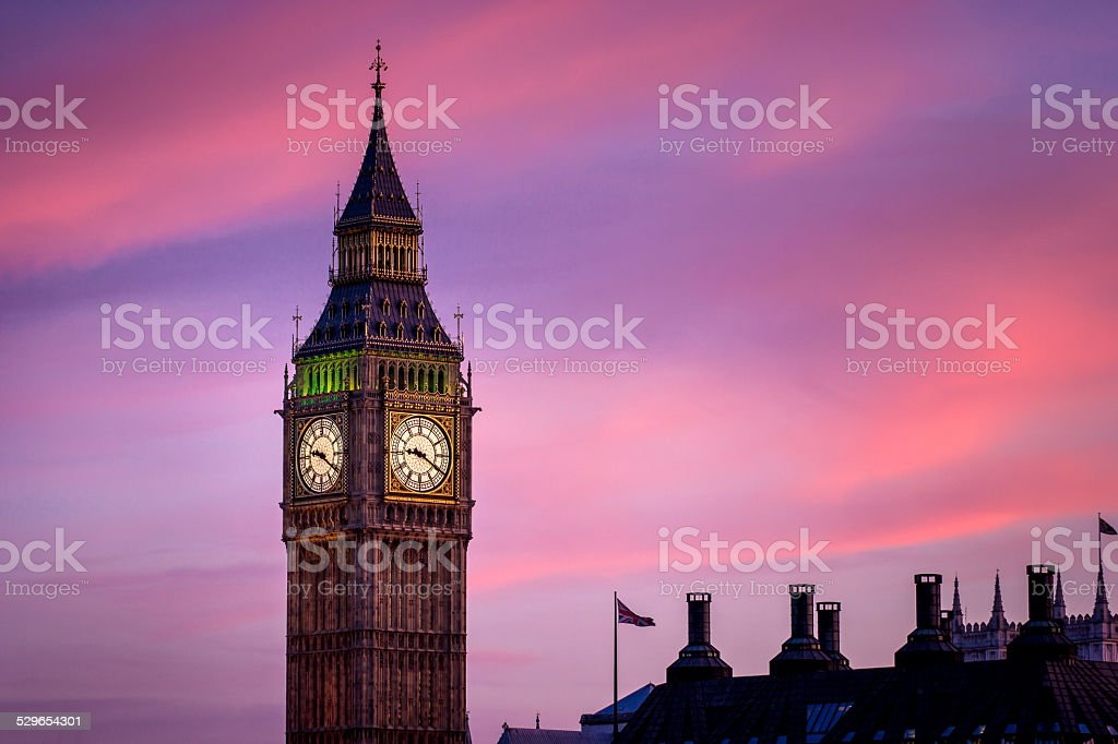 Twilight Close up of Big Ben Clock Tower in London stock photo