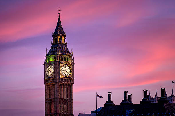 Twilight Close up of Big Ben Clock Tower in London stock photo