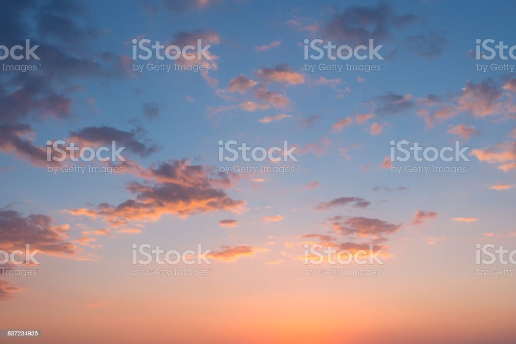 Twilight cloudy sky at sunset,for background. Colorful skyscape over the sea,inspiration concept. stock photo