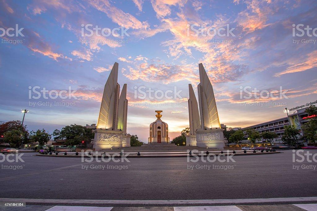 Twilight Democracy Monument, Bangkok, Thailand stock photo