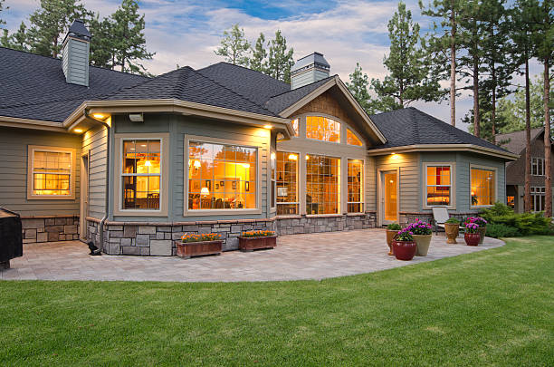 Twilight exterior of home and landscape This taken at twilight.  twilight stock pictures, royalty-free photos & images