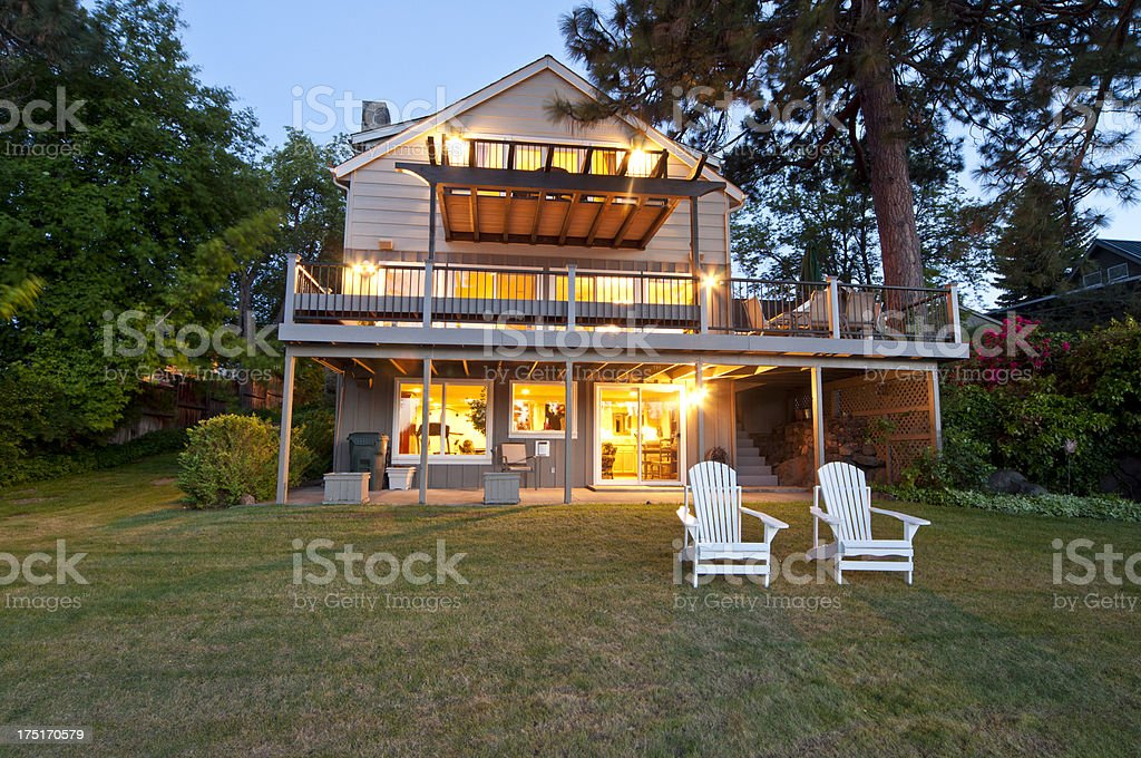 Twilight exterior of home stock photo