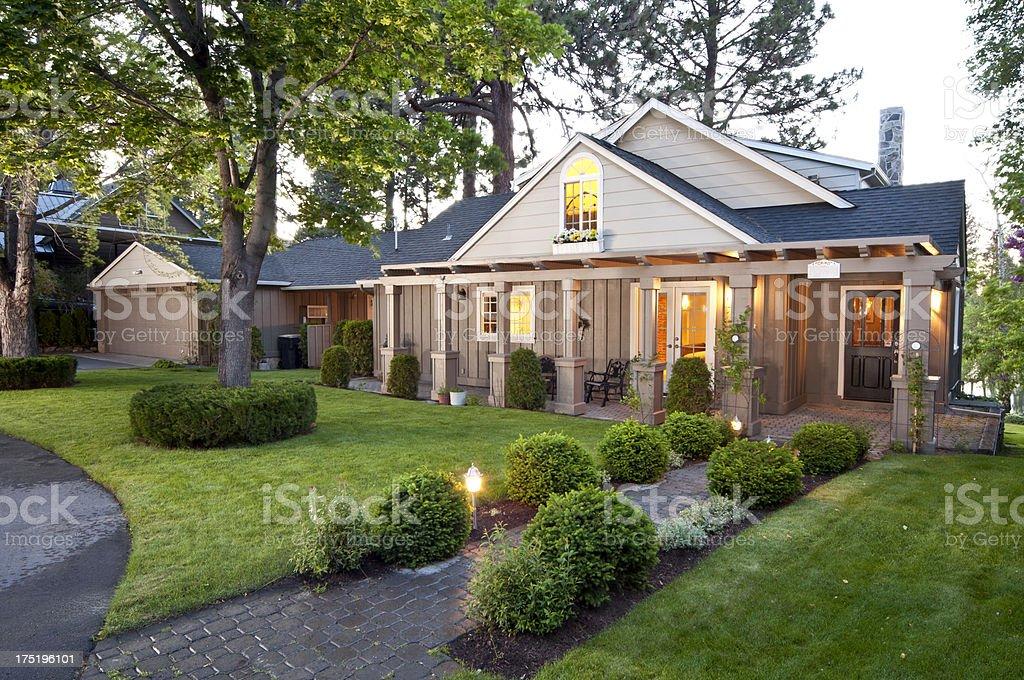 Twilight exterior of home stock photo