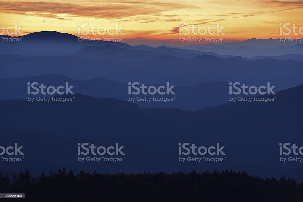 Twilight, Great Smoky Mountains stock photo