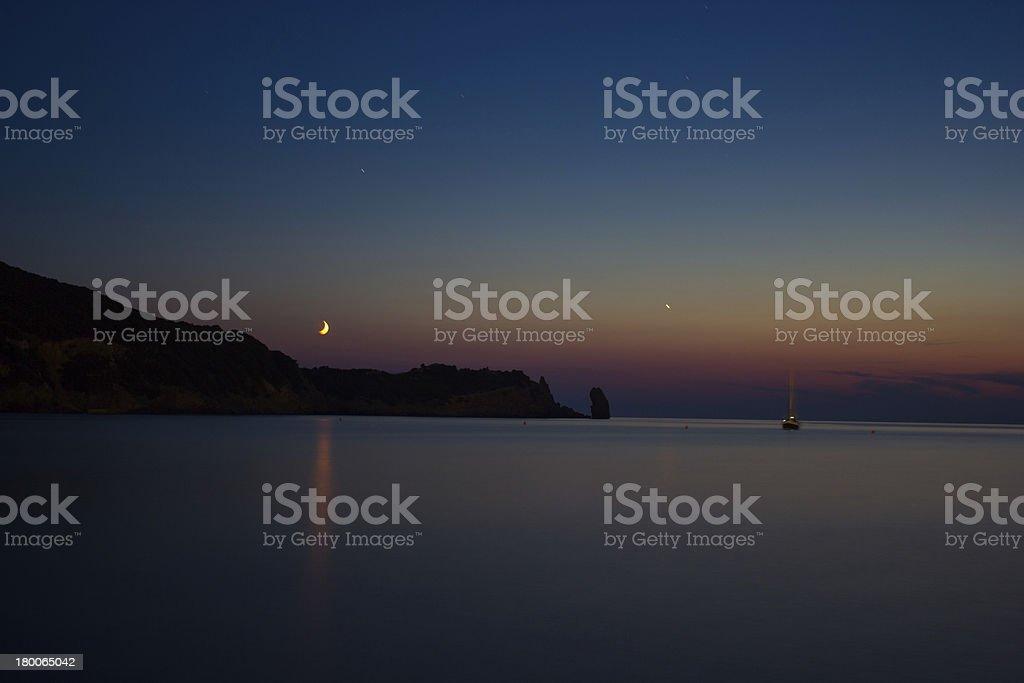 Twilight hour over Giglio Island stock photo