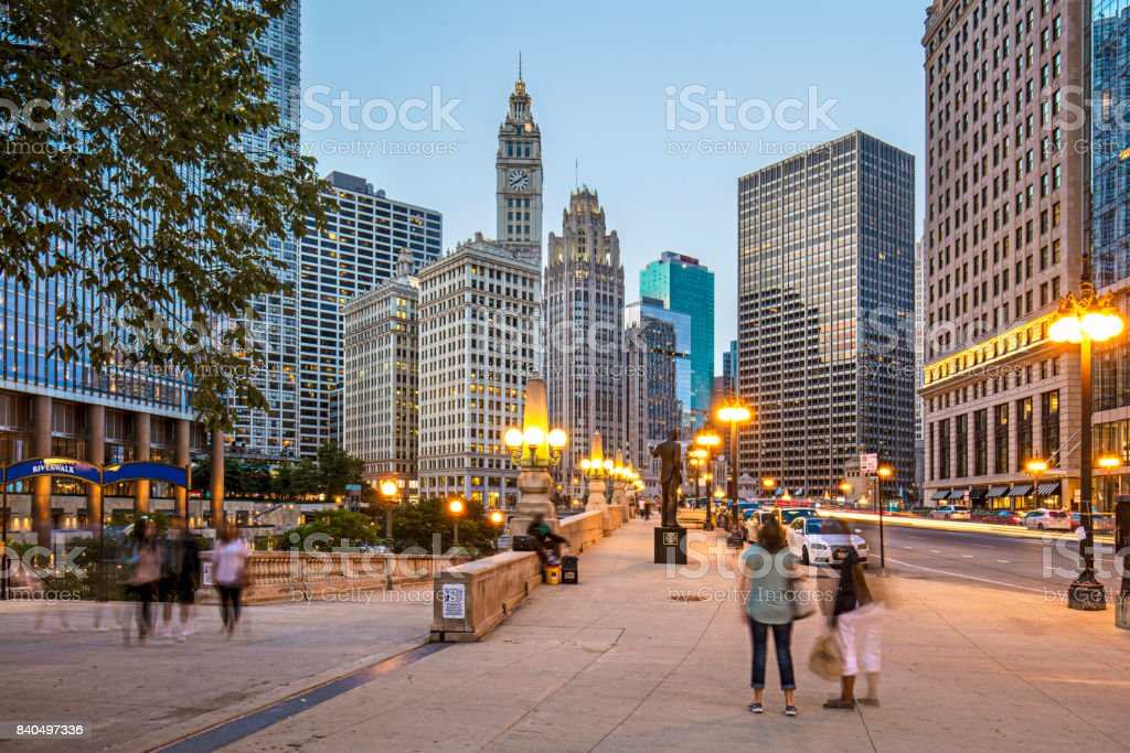 Twilight in Chicago stock photo