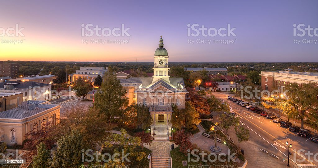 A twilight in downtown Athens, Georgia stock photo