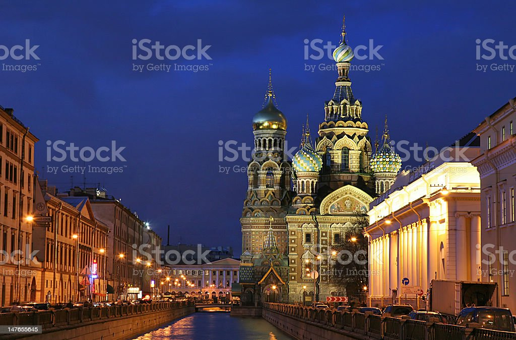 twilight in saint-petersburg city royalty-free stock photo