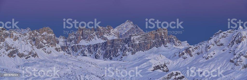 Twilight in the Dolomites stock photo