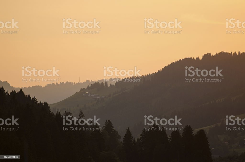 Twilight in the valey of Tannheim royalty-free stock photo