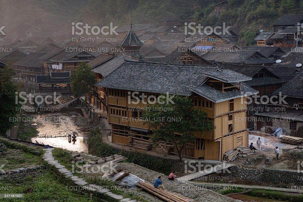 Twilight in Zhaoxing village of Dong ethnic minority, Guizhou, China. stock photo