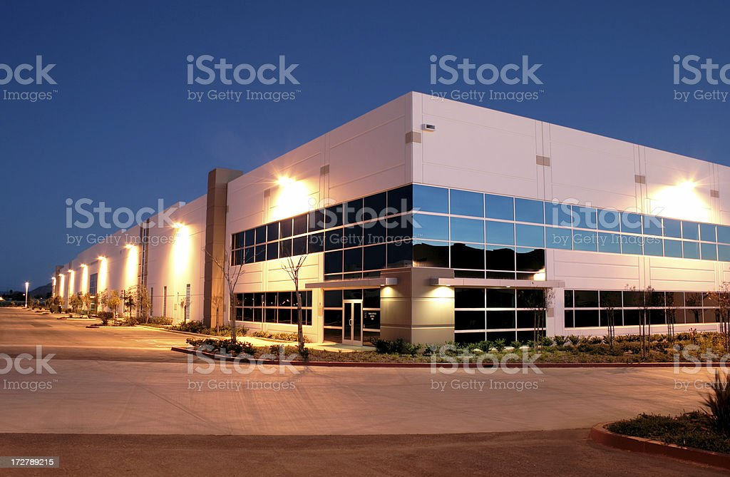 Twilight Industrial Building 3050 royalty-free stock photo