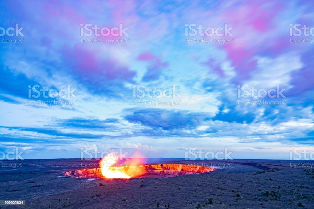 Twilight Kilauea Volcano stock photo