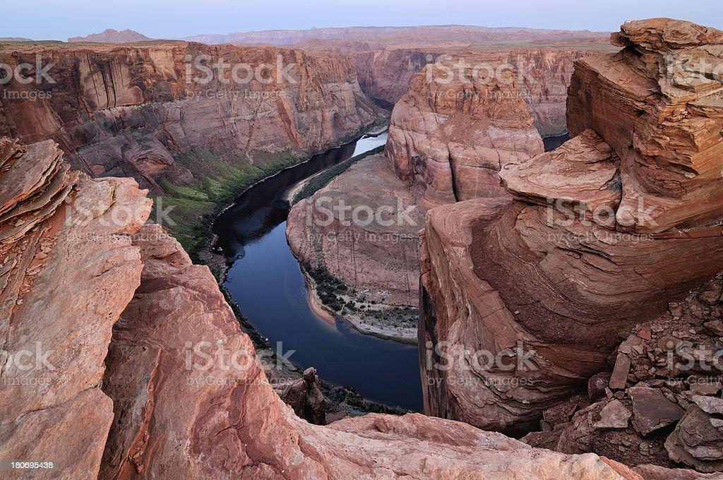 Twilight landscape of Horseshoe Bend, Colorado River, Arizona, USA royalty-free stock photo