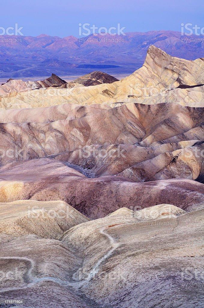 Twilight landscape of Zabriskie point, Death Valley, California, USA stock photo